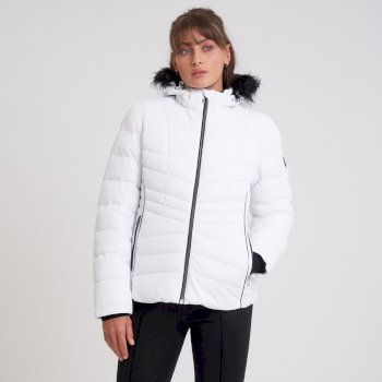 Swarovski Embellished - Women's Glamorize II Waterproof Ski Jacket White Black