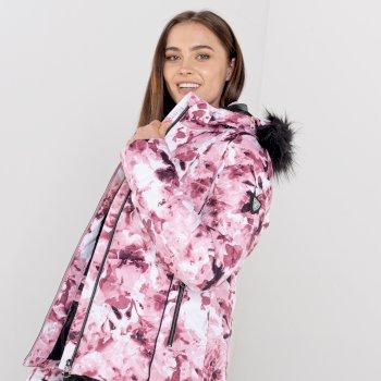 Swarovski Embellished - Veste de ski à capuche Femme imperméable et isolante GLAMORIZE II avec capuche bordée de fause fourrure - Collection Luxe Rose