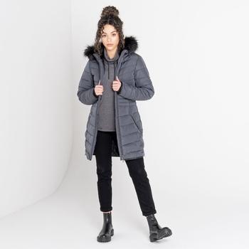 The Laura Whitmore Edit - Striking Fur Trim Hooded Ski Jacket Ebony Grey