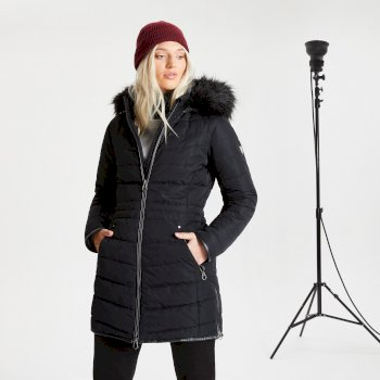 Parka de ski à capuche Femme imperméable et isolante STRIKING avec capuche bordée de fause fourrure - Collection Luxe Noir