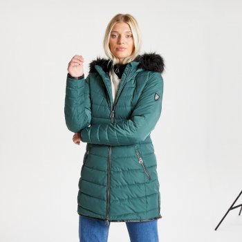 Swarovski Embellished - Women's Striking Waterproof Insulated Quilted Fur Trim Hooded Parka Luke Ski Jacket Royal Green