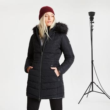 Swarovski Embellished - Women's Striking II Waterproof Ski Jacket Black Black Fur