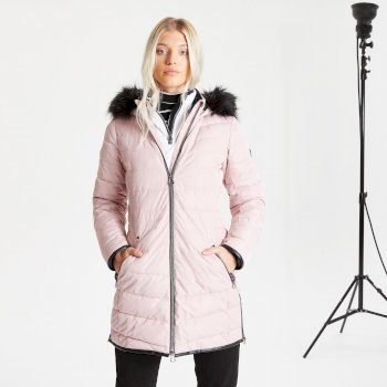 Swarovski Embellished - Women's Striking Waterproof Insulated Quilted Fur Trim Hooded Parka Luke Ski Jacket Pale Mauve