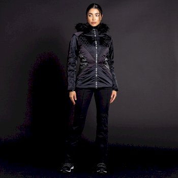 Dare 2B X Julien Macdonald - Women's Resplandent Waterproof Insulated Fur Trimmed Ski Jacket Black