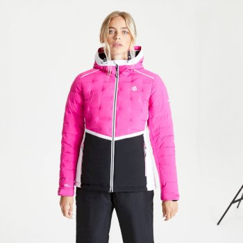 Women's Vividly Waterproof Insulated Quilted Hooded Ski Jacket Active Pink Black