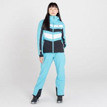 Women's Provenance Waterproof Ski Jacket Azure Blue Black