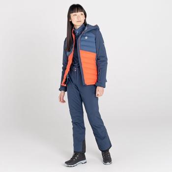 Women's Coded Waterproof Ski Jacket Nightfall Navy Grenadine Orange