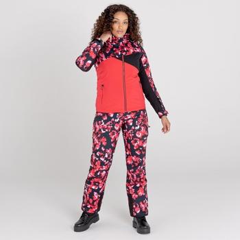 Women's Determined Recycled Waterproof Ski Jacket Lollipop Red Black