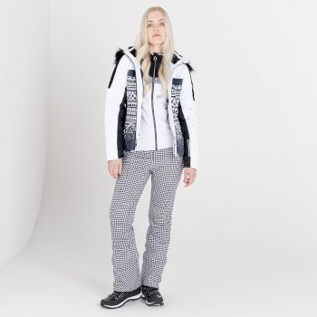 Swarovski Embellished - Women's Prestige Waterproof Ski Jacket White Dogtooth Print