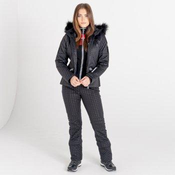 Swarovski Embellished - Women's Prestige Waterproof Ski Jacket Black Dogtooth Print