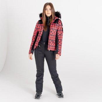 Swarovski Embellished - Women's Prestige Waterproof Ski Jacket Lollipop Red Dogtooth Print