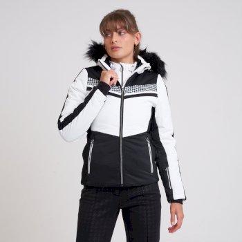 Swarovski Embellished - Women's Dynamite Waterproof Ski Jacket White Black