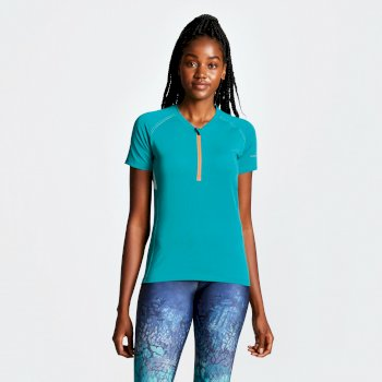 Women's Tribe Half Zip Cycle Jersey Caribbean Green