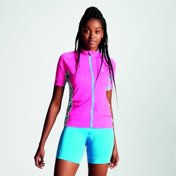 Women's Expound Full Zip Cycle Jersey Cyber Pink Aruba Blue