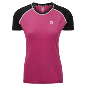 Women's Fixate Wool T-Shirt Active Pink Black