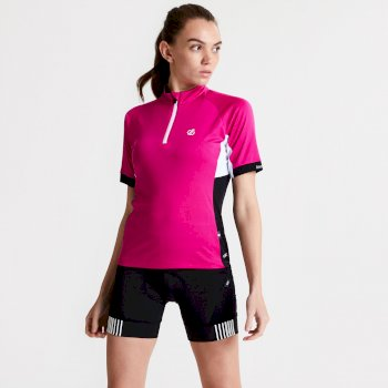 Maillot cycle Femme avec 1/2 zip EXPOUND II  Rose