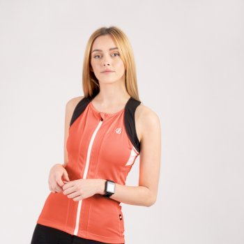 Women's Regale Full Zip Cycling Vest Fiery Coral Black