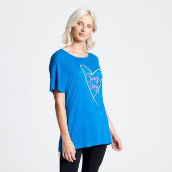 T-shirt Femme avec imprimé PICK-IT UP Bleu