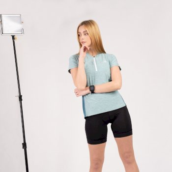 Maillot De Sport Femme Léger Avec Ouverture 1/2 Zip OUTDARE II Vert