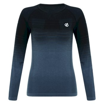 Women's In The Zone Long Sleeved Performance Base Layer Top Black Gradient