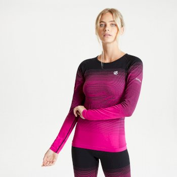 Women's In The Zone Long Sleeved Performance Base Layer Top Active Pink Black