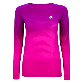 Women's In The Zone Long Sleeved Performance Base Layer Top Cyber Pink Gradient