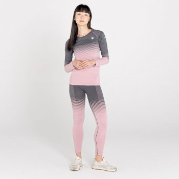 Women's In The Zone Performance Base Layer Top Powder Pink Grey