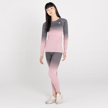 Women's In The Zone Performance Base Layer Leggings Powder Pink Grey