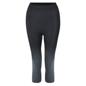 Women's In The Zone Performance Base Layer 3/4 Leggings Black Gradient