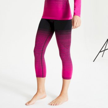 Women's In The Zone Performance Base Layer 3/4 Leggings Active Pink Black