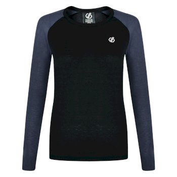 Women's Exchange Long Sleeved Thermal Base Layer Top Black Ebony Grey