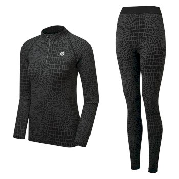 Swarovski Embellished - Women's Symbolise Luxe Base Layer Set Black Croc