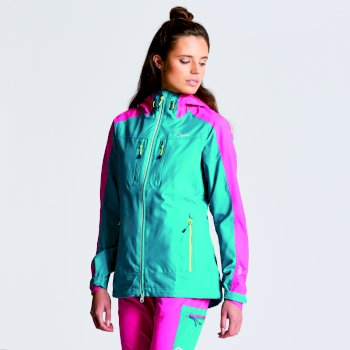 Women's Surety Waterproof Jacket Shoreline Blue Cyber Pink