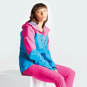 Women's Surfiest AEP Seamsmart Lightweight Hooded Waterproof Jacket Blue Jewel Cyber Pink
