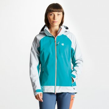 Women's Veritas Lightweight Waterproof Jacket with Detachable Hood Caribbean Green Argent Grey
