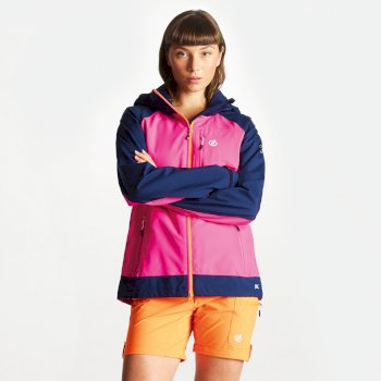 Women's Veritas Lightweight Waterproof Jacket with Detachable Hood Cyber Pink Clear Water Blue