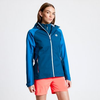 Women's Compete Lightweight Hooded Waterproof Jacket Moroccan Petrol Blue