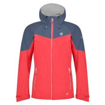 Women's Reconfine Lightweight Hooded Waterproof Jacket Fiery Coral Meteor Grey