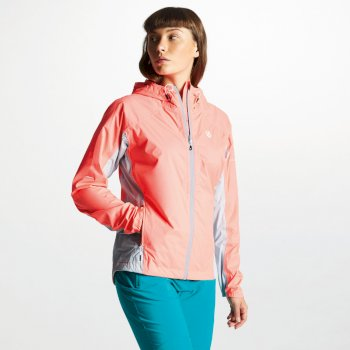 Women's Surround Lightweight Packaway Waterproof Shell Jacket Fiery Coral Argent Grey