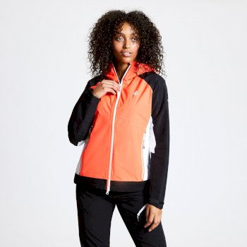 Women's Checkpoint Lightweight Waterproof Hooded Jacket Fiery Coral Black