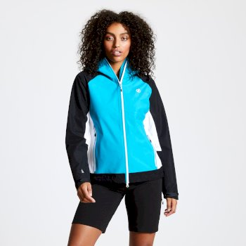 Women's Checkpoint Lightweight Waterproof Hooded Jacket Freshwater Blue Black