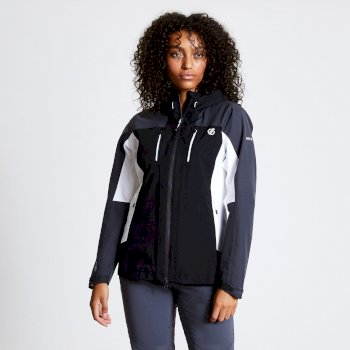 Women's Immense Lightweight Waterproof Hooded Jacket Black Ebony Grey
