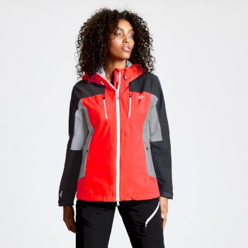 Women's Immense Lightweight Waterproof Hooded Jacket Fiery Coral Ebony Grey